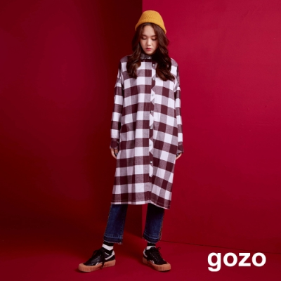 gozo 背印花長版格紋襯衫洋裝(二色)