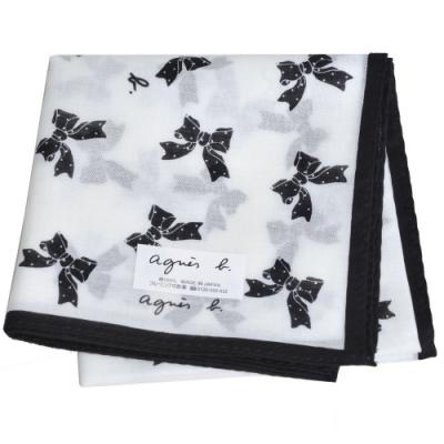 agnes b 繽紛蝴蝶結小b字母品牌LOGO帕領巾(白色系)