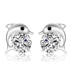 米蘭精品 925純銀耳環-鑲鑽海豚百搭耳環