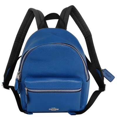 COACH大西洋藍荔枝紋全皮前口袋小款後背包