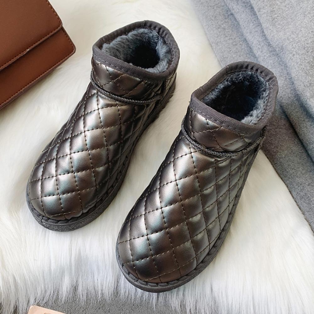 KEITH-WILL時尚鞋館 奢華金屬質感麵包鞋-咖啡色