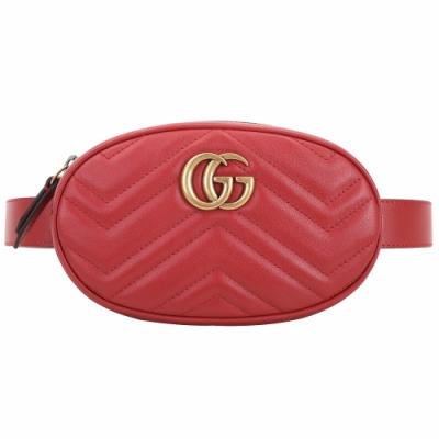 GUCCI GG Marmont 山型絎縫皮革手拿/腰包(紅色)