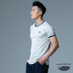 【LACHELN】抗UV吸排乾爽彈性休閒男圓領T恤-L92MA01淺灰