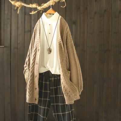 手工質感素色V領針織開衫寬鬆毛衣外套-設計所在