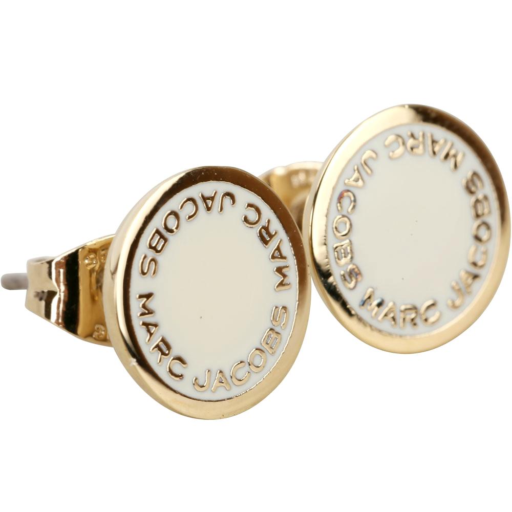MARC JACOBS Logo Disc Stud 字母琺瑯圓盤耳針式耳環(金x象牙白)