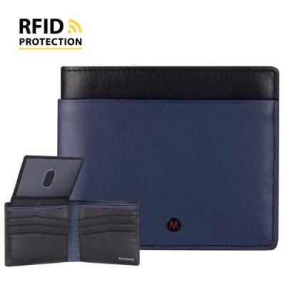 MONDAINE 瑞士國鐵 蘇黎世系列RFID防盜 ID視窗8卡短夾 - 藍