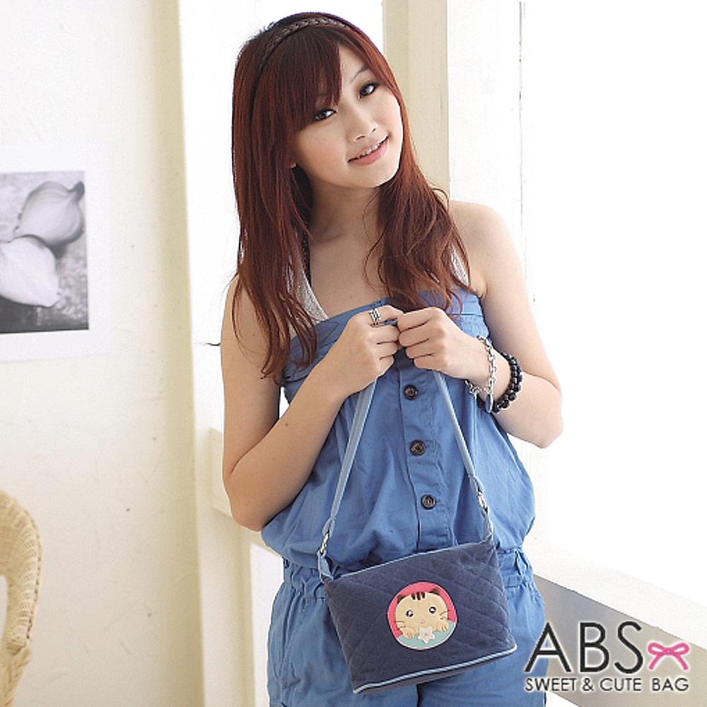 ABS貝斯貓 可愛餅乾貓咪拼布側背 肩背包(海洋藍)88-119