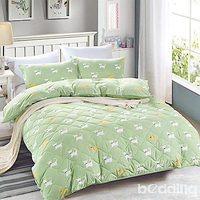 BEDDING-舒適系列海島棉6尺加大雙人薄式床包三件組-狗狗派對