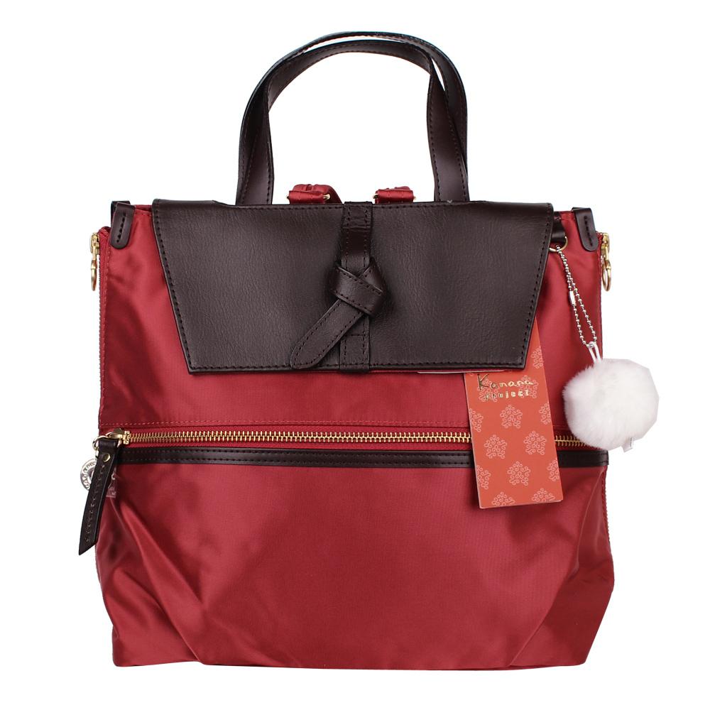 Kanana卡娜娜 小型 寬背帶尼龍後背兩用包-橘紅色