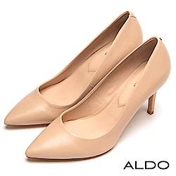 ALDO 原色真皮綴金屬LOGO尖頭細高跟鞋~氣質裸色