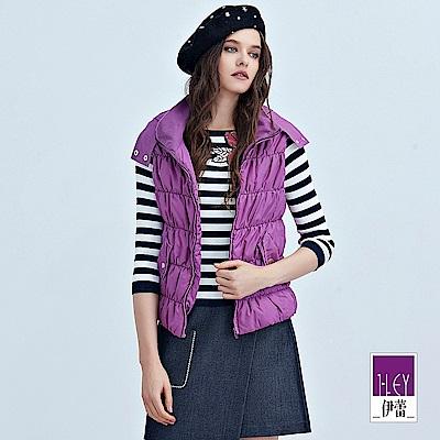 ILEY伊蕾 橫條車紋鋪棉連帽背心(紫)