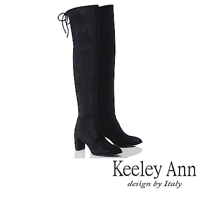 Keeley Ann 獨特魅力~綁帶經典全素面膝上長靴(黑色-Ann)
