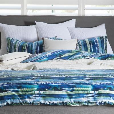 Kspace | 挪威森林精梳棉印花寢飾 | 藍綠 雙人被套床包組