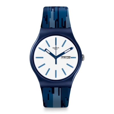 Swatch  I love your folk系列手錶 FIAMMABLU 鋸齒藍