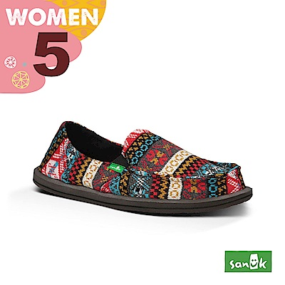 SANUK 女款US5 民俗圖騰編織懶人鞋(紅藍色)