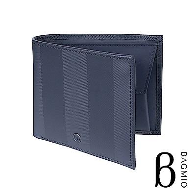 BAGMIO authentic 人字紋牛皮4卡零錢包短夾 午夜藍