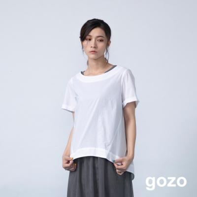 gozo 品牌logo繡線後開岔下擺上衣(二色)