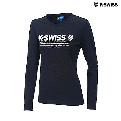 K-Swiss LS Logo Tee印花長袖T恤-女-黑