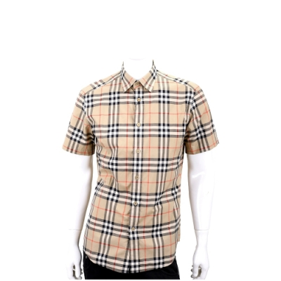BURBERRY 格紋棉府綢短袖襯衫(典藏米)