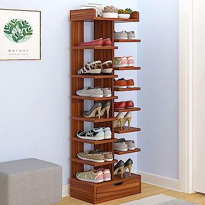 日式創新多層收納木架鞋櫃/雙邊8層(帶抽屜)