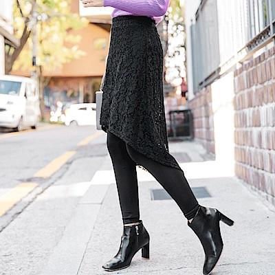 蕾絲裙襬拼接內磨毛假兩件內搭褲-OB大尺碼