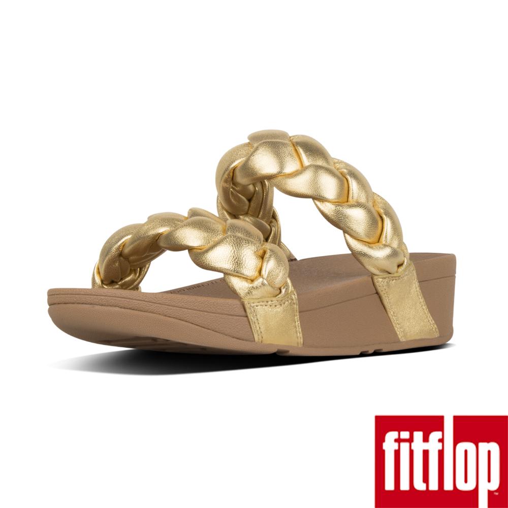 FitFlop PLATT METALLIC LEATHER SLIDES-黃金色