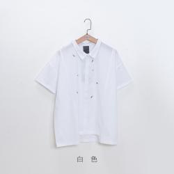 gozo 游泳人物繡花切口下擺襯衫(三色)