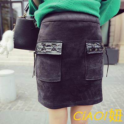 皮感翻蓋口袋麂皮絨短裙 (黑色)-CiAO妞