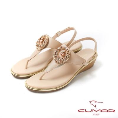【CUMAR】情迷哈瓦那 -圓形鑽飾人字金屬邊條楔型涼鞋-裸色
