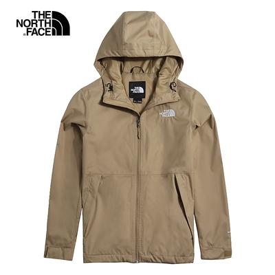 The North Face北面男款棕色防水透氣戶外休閒連帽衝鋒衣|4UDNPLX
