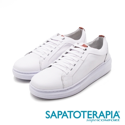 SAPATOTERAPIA(男)圓頭真皮車縫休閒鞋 男鞋-白(另有黑)