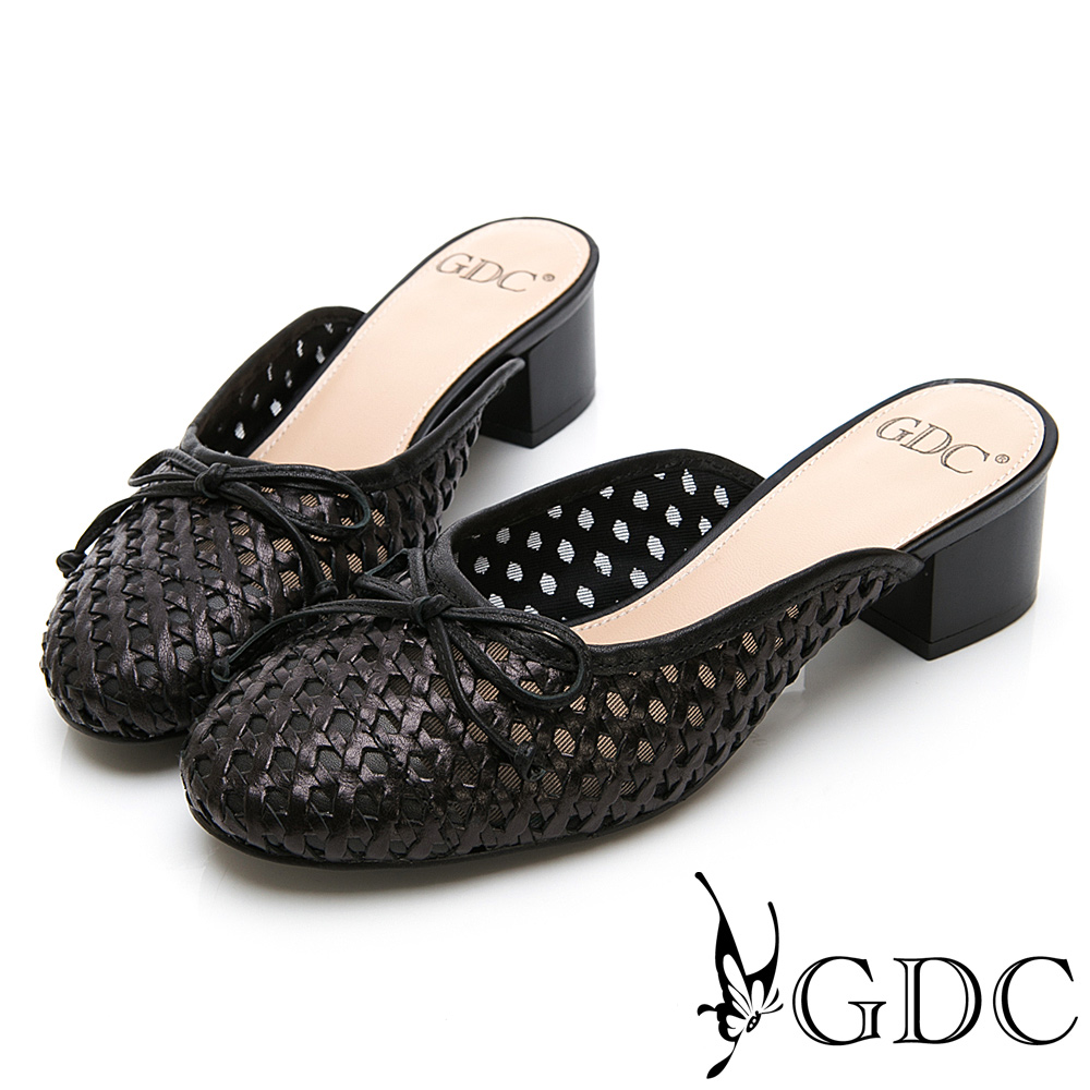 GDC-真皮清秀佳人簍空氣質蝴蝶結拖鞋-黑色