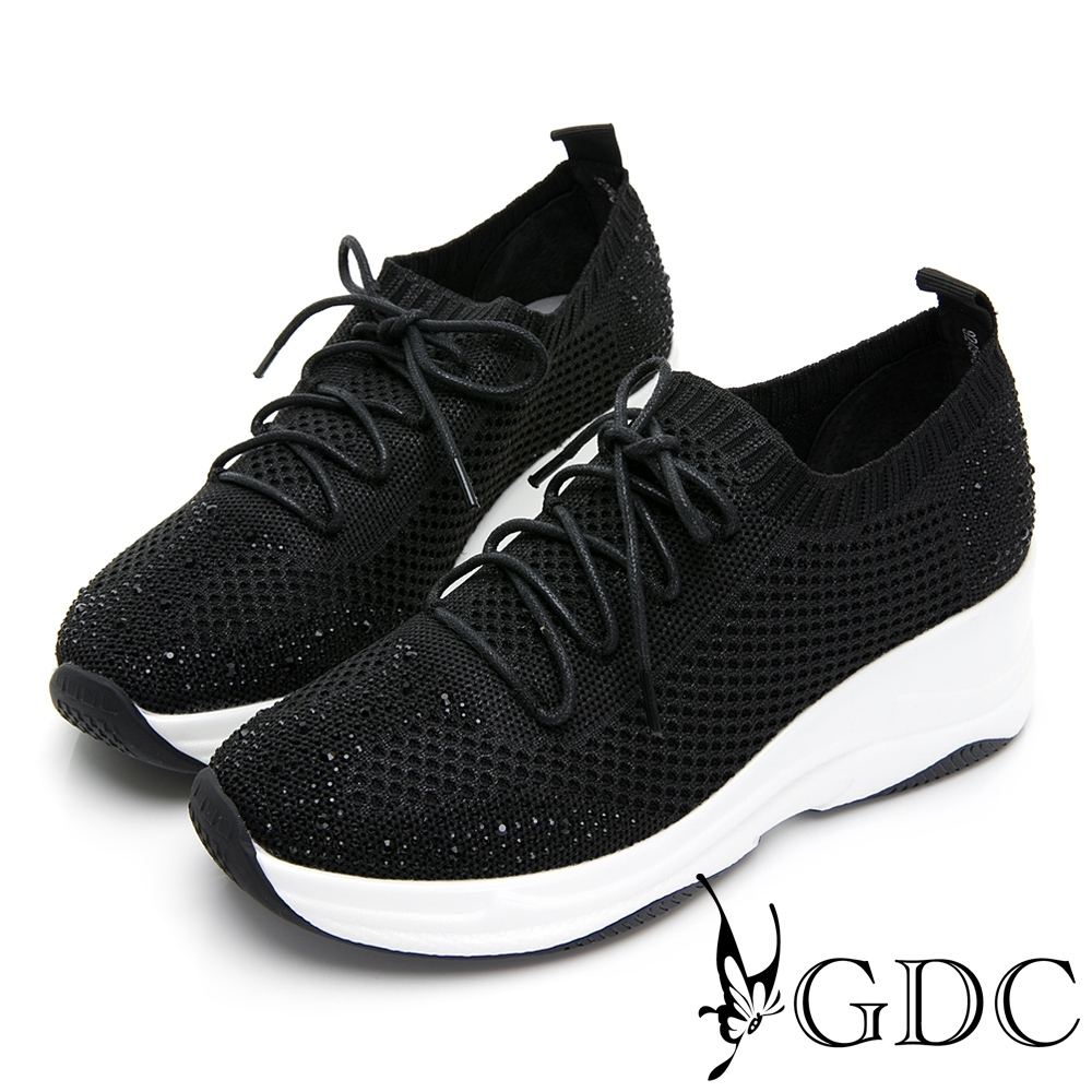 GDC-飛織時尚流線感綁帶運動厚底休閒鞋-黑色