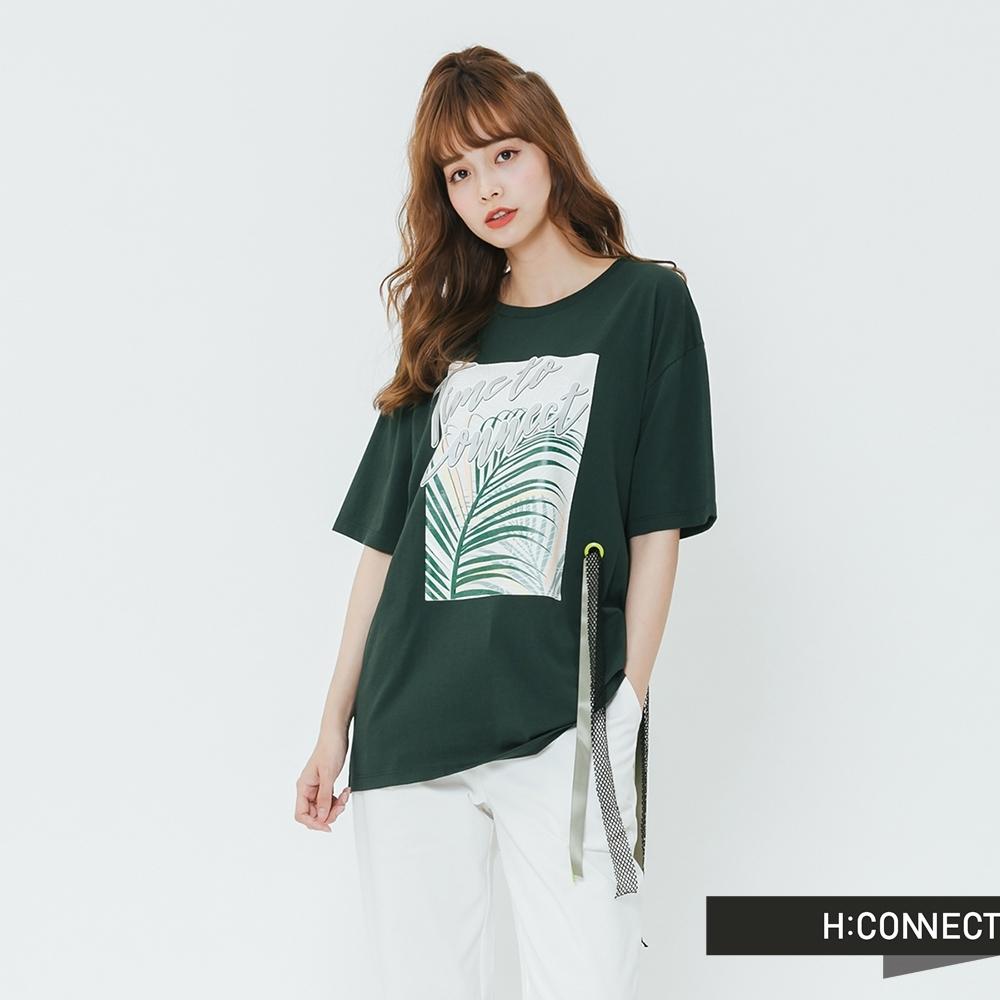 H:CONNECT 韓國品牌 女裝-造型織帶印花T-shirt-綠