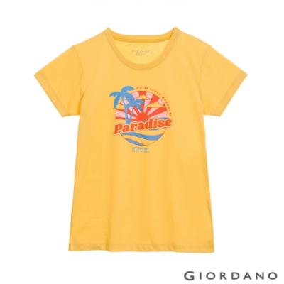 GIORDANO  女裝夏日陽光印花T恤 - 01 奶油黃