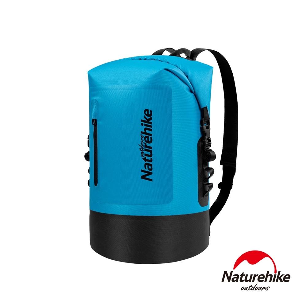 Naturehike C031一字拉鍊TPU乾濕分離防水後背包 防水袋 收納袋20L 藍色