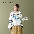 【MOSS CLUB】條文童趣印花-上衣(藍色)