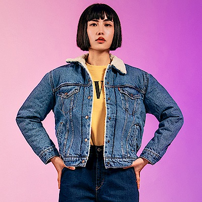 Levis 女款 牛仔外套 Boyfirend寬鬆版型 中藍水洗 Sherpa棉花絨