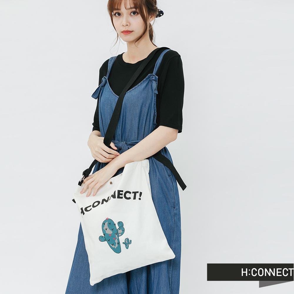 H:CONNECT 韓國品牌 -亮眼圖印帆布包-綠