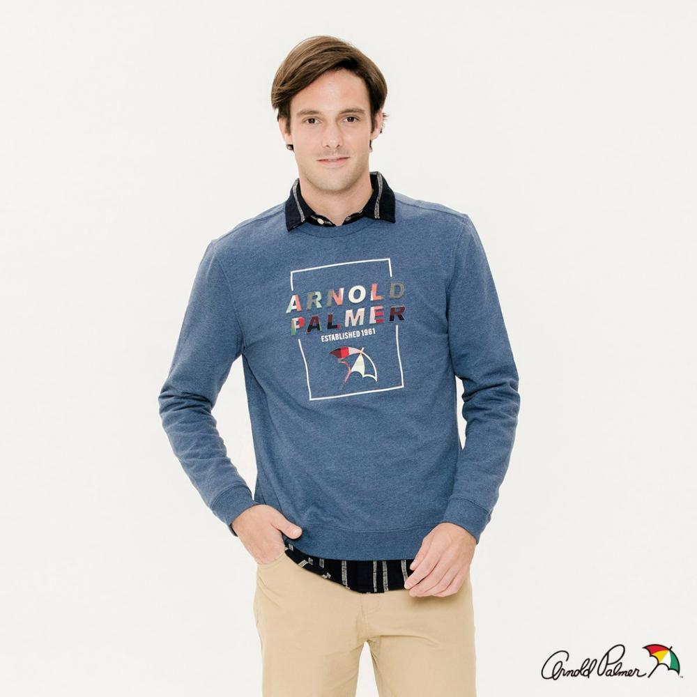 Arnold Palmer-男裝-方塊印花LOGO長袖圓領衛衣-藍色