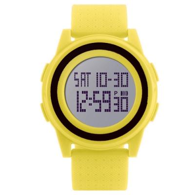 Mirabelle雙框炫色 LED鬧鐘防水矽膠手錶 黃帶黑框45mm