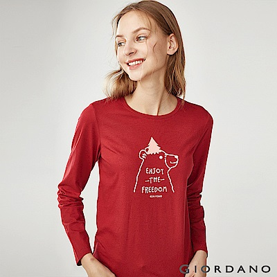 GIORDANO 女裝趣味動物印花長袖T恤-02 標誌紅