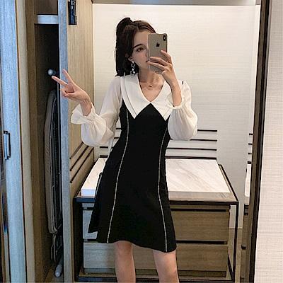 DABI 韓系優雅淑女白線條拼接雪紡大翻領長袖洋裝