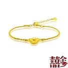囍金 時尚造型  999千足黃金墜金絲繩手鍊(5選1)