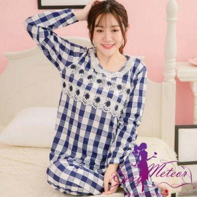 睡衣 全尺碼 滿版格子蕾絲長袖二件式睡衣組(藍白格) Sexy Meteor