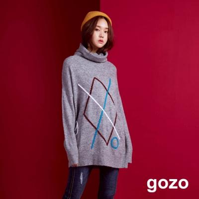 gozo 幾何編織高領毛衣(二色)