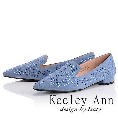Keeley Ann 簡約美學~大方滿鑽U型樂福鞋(灰藍色-Ann)