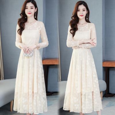 【韓國K.W.】(預購)法式蕾絲高腰修身仙女洋裝-3色