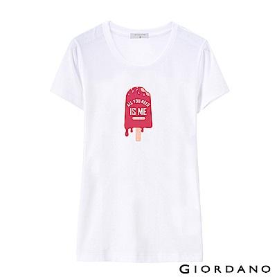 GIORDANO 女裝假期休閒印花T恤-61 標誌白