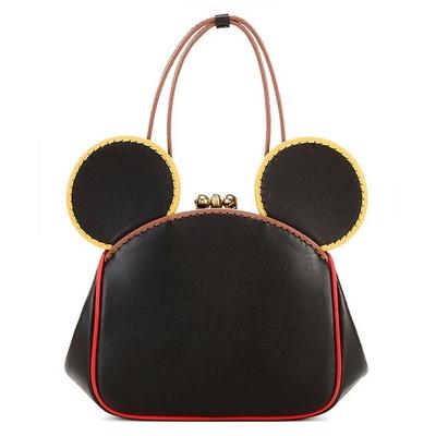 COACHxDisney MickeyxKeith Haring 復古造型耳朵皮革蝴蝶扣手提/斜背兩用鍊條包
